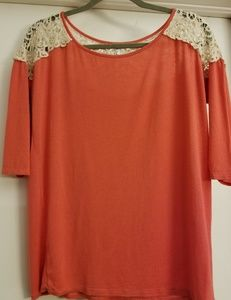 Coral and cream lace 3/4 sleeve top